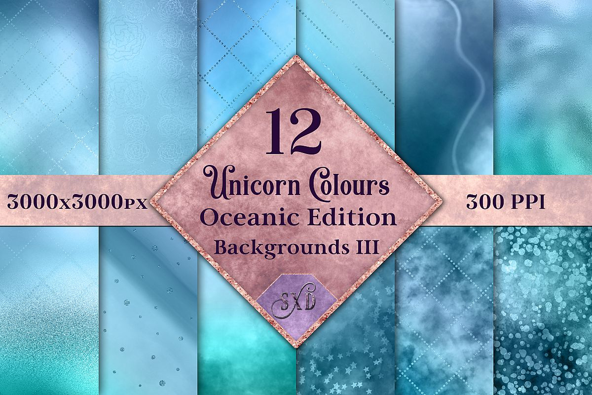 Unicorn Colours Backgrounds III - Oceanic Edition Textures example image 1