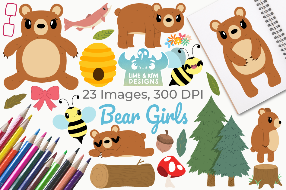 Bear Girls Clipart, Instant Download Vector Art example image 1