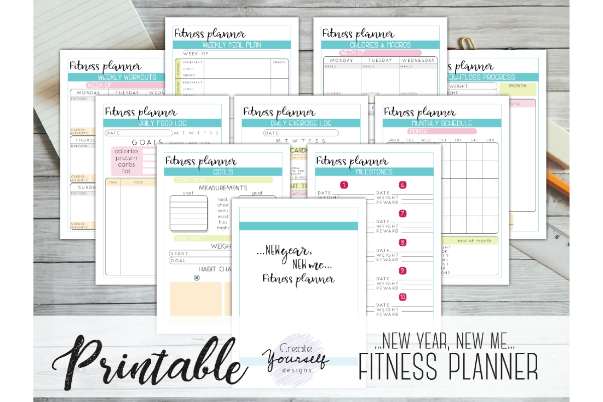 photo regarding Free Printable Fitness Planner named Physical fitness planner printable - fat decline tracker