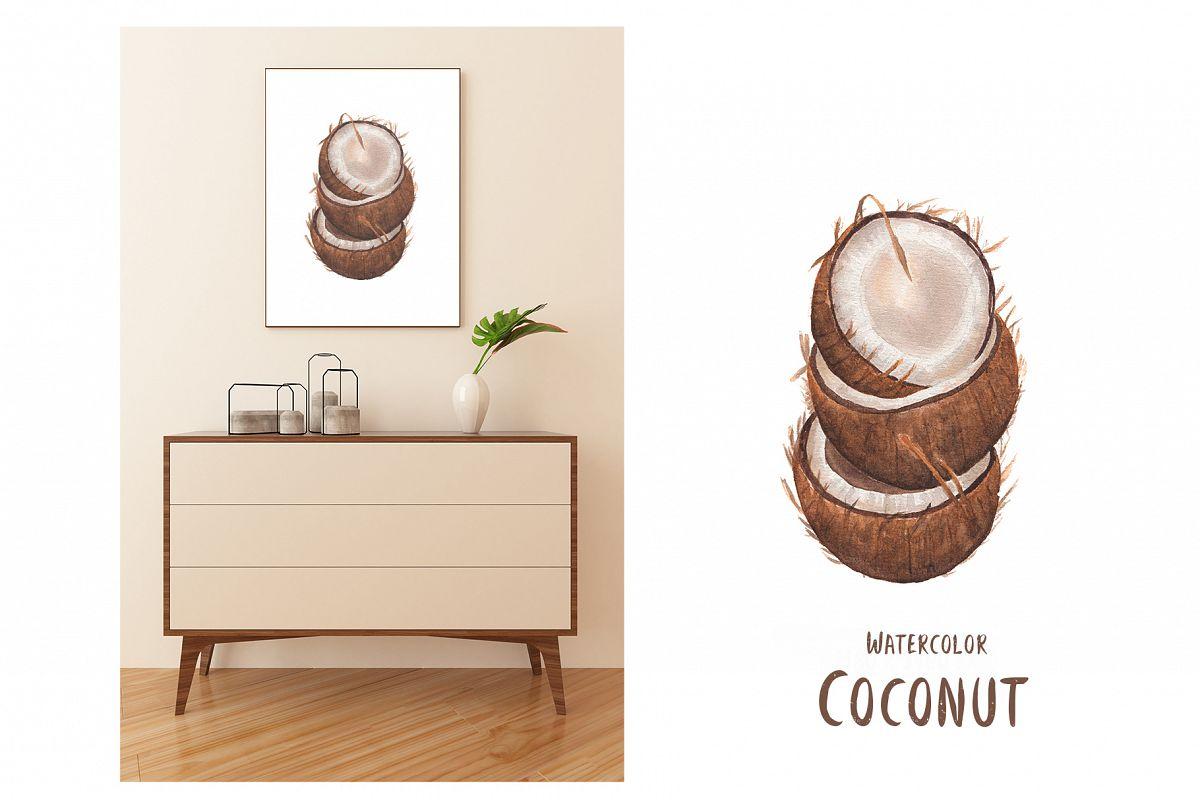 Watercolor Coconut illustration example image 1
