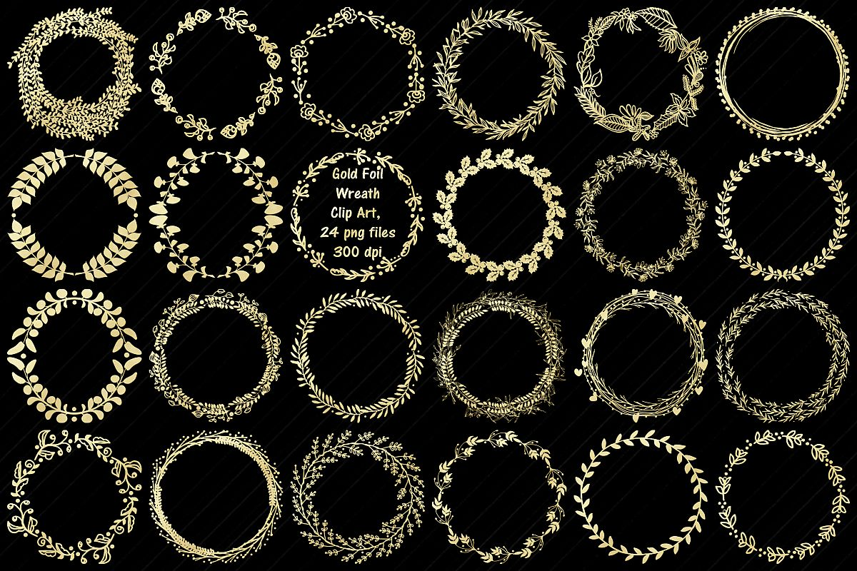 Gold Foil Wreaths Clip Art...Christmas and Other example image 1