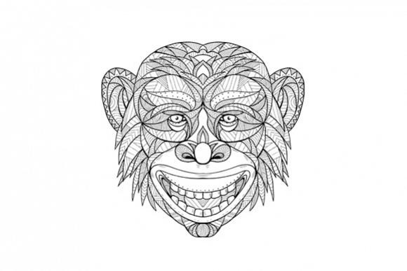 Chimpanzee Head Zentagle  example image 1
