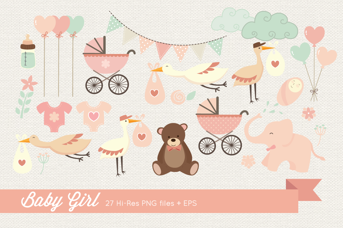 Baby Girl Clipart example image 1