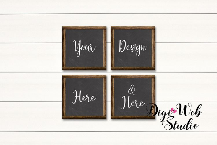 4 Wood Signs Mockup - Set of 4 Wood Chalkboard Frames example image 1