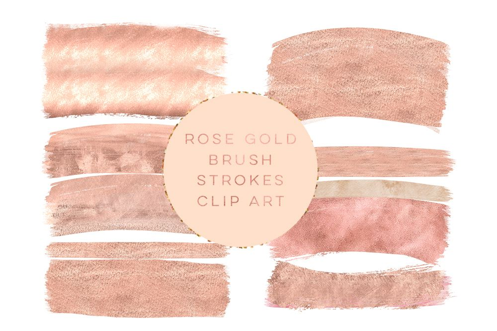 Rose gold brush strokes clipart, peach gold brush clip art, pink peach gold paint clip art, wedding peach gold Paint Clip art, winter gold example image 1