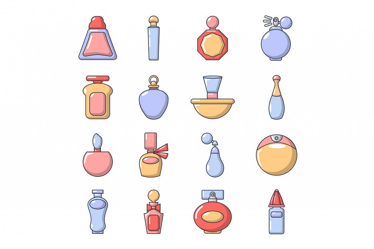 Perfume bottle icons set, cartoon style example image 1
