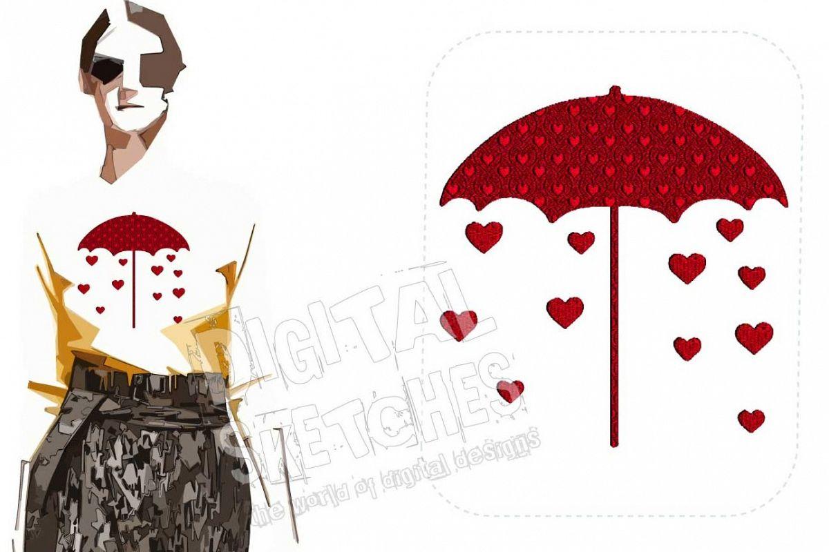 Heart Rain Machine Embroidery Design 4 Sizes example image 1