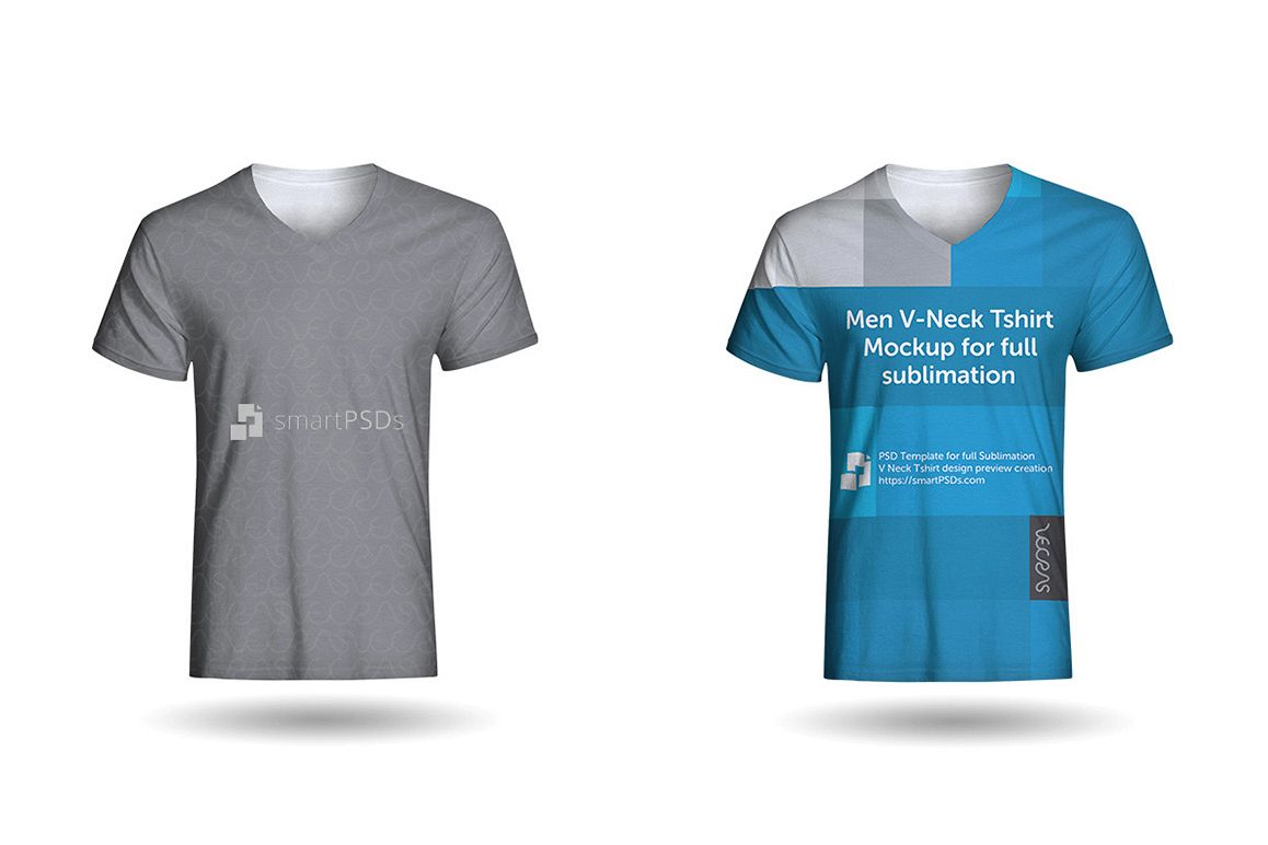 Men V-Neck T-Shirt Sublimation Design Mockup - Front View example image 1