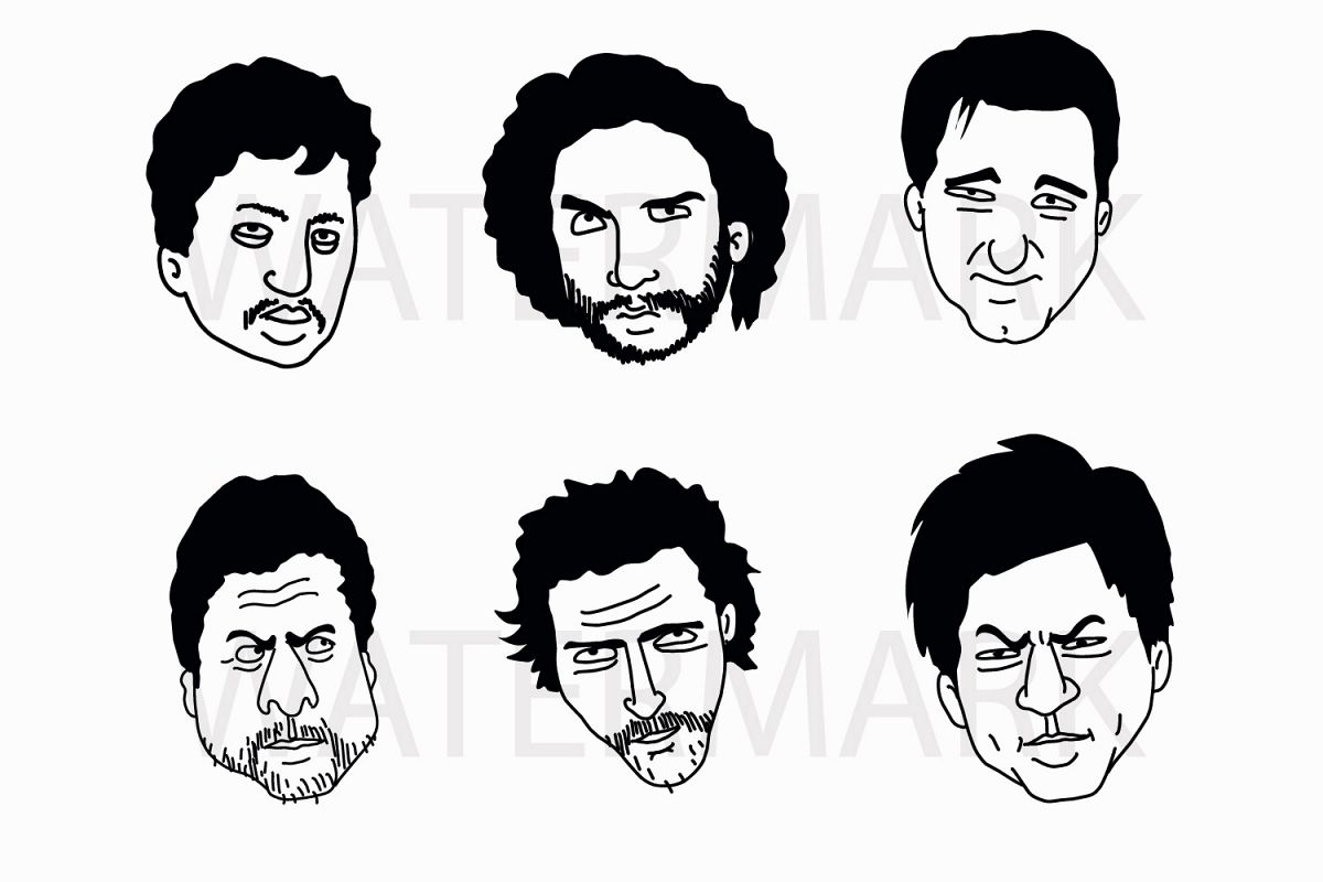 Face Set A - SVG/JPG/PNG Hand Drawing example image 1