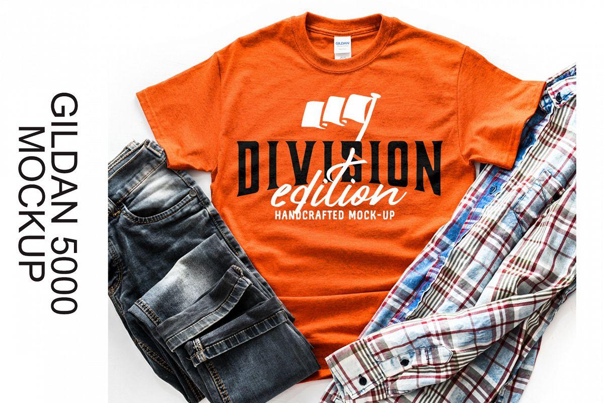 Shirt Mockup - Gildan - 5000 - Antique Orange - photography example image 1