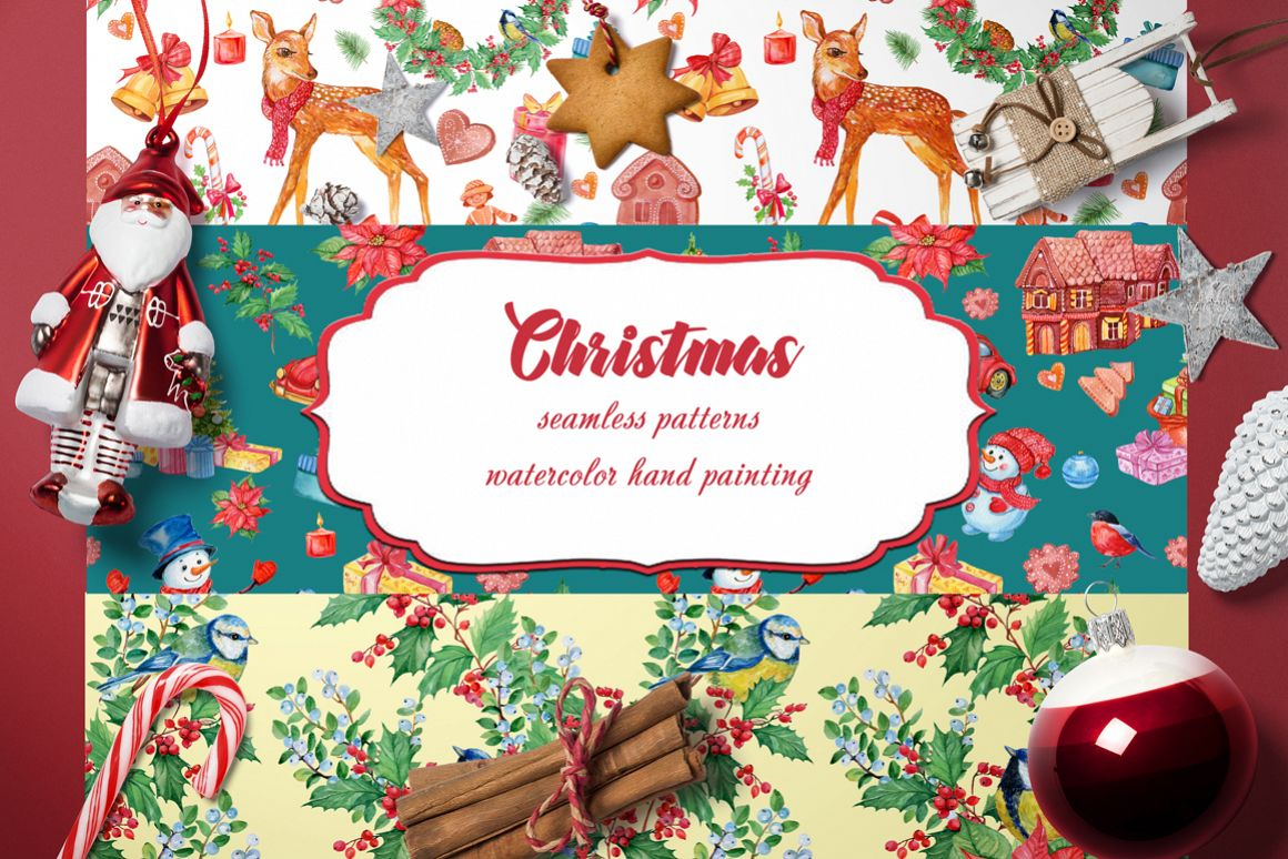 SET OF CHRISTMAS PATTERNS WATERCOLOR example image 1