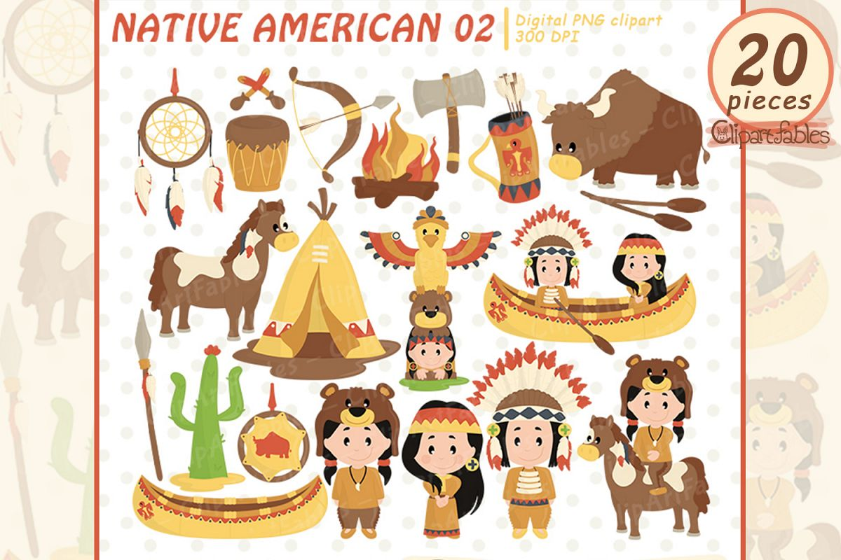 NATIVE AMERICAN clipart, Western clipart, Cute indian design example image 1