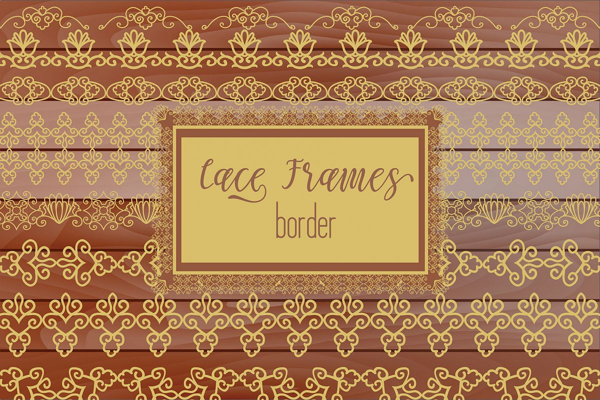Bronze gold Lace Borders Clipart & Vectors example image 1