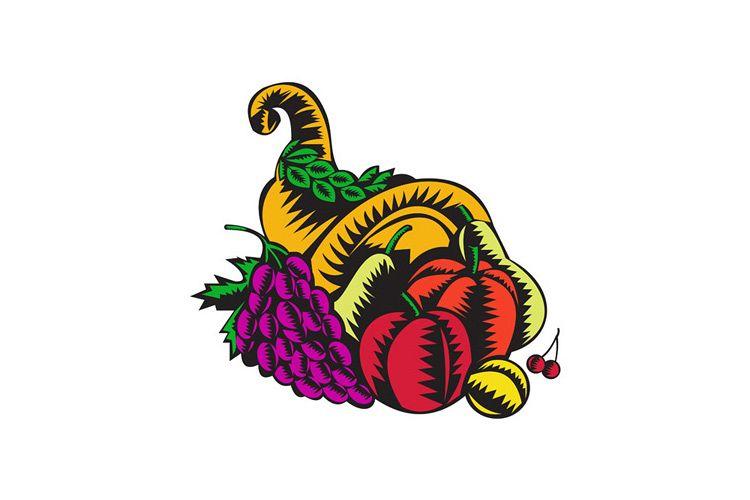 Cornucopia Fruit Harvest Woodcut example image 1
