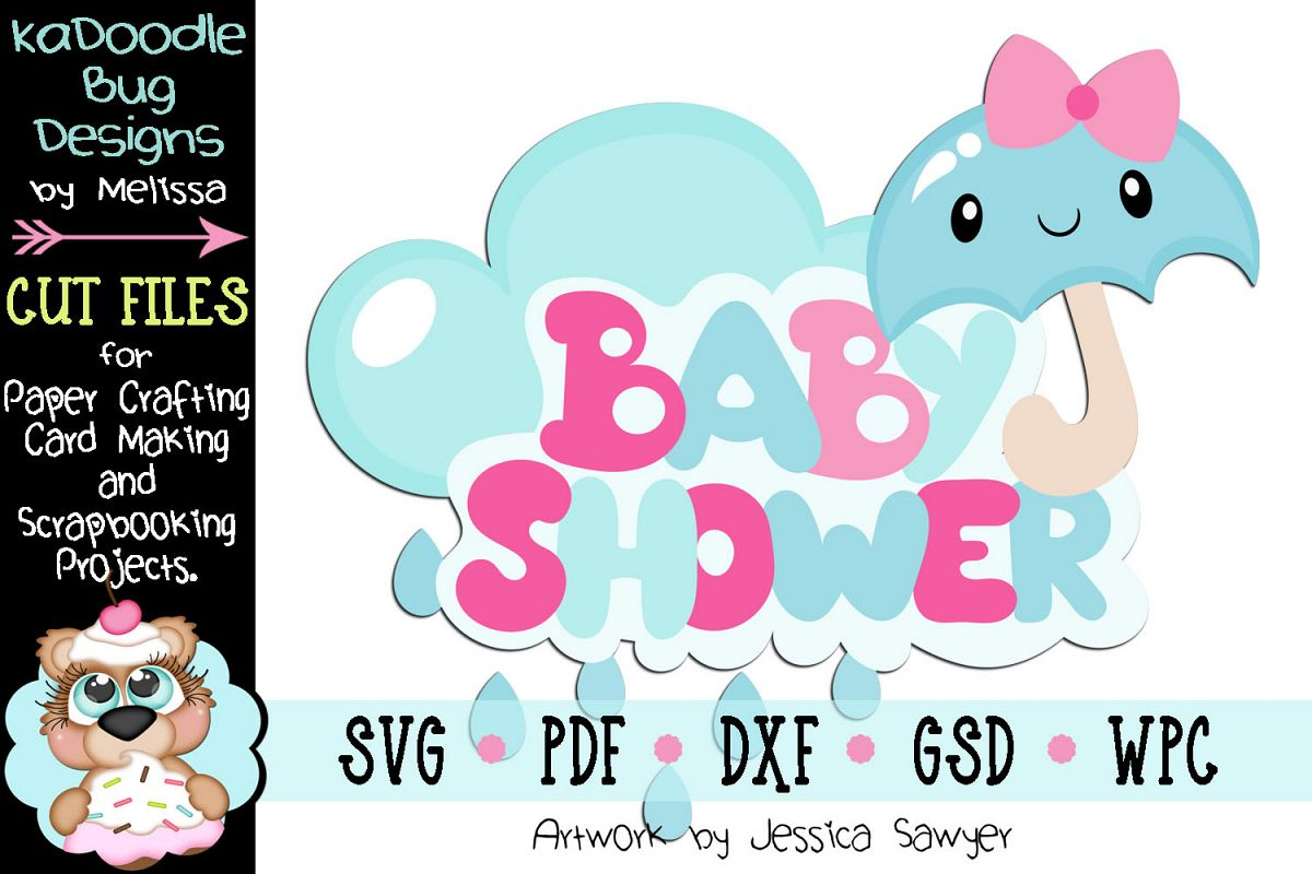 Kawaii Baby Shower Title Cut File - SVG PDF DXF GSD WPC example image 1