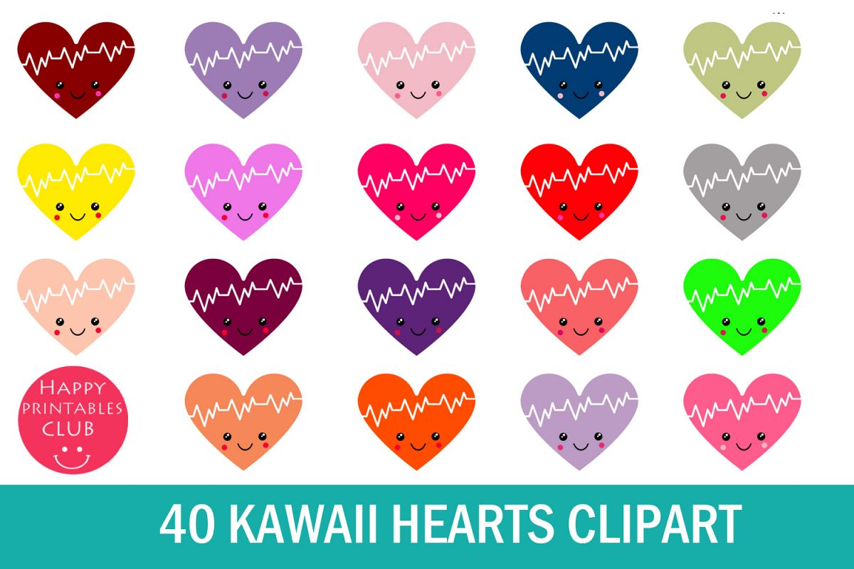 40 Kawaii Heart Clipart- Cute Valentines Day Heart Clipart example image 1