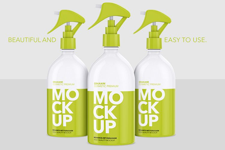 Cosmetic Pump Spray Bottle 500ml - Mockup example image 1