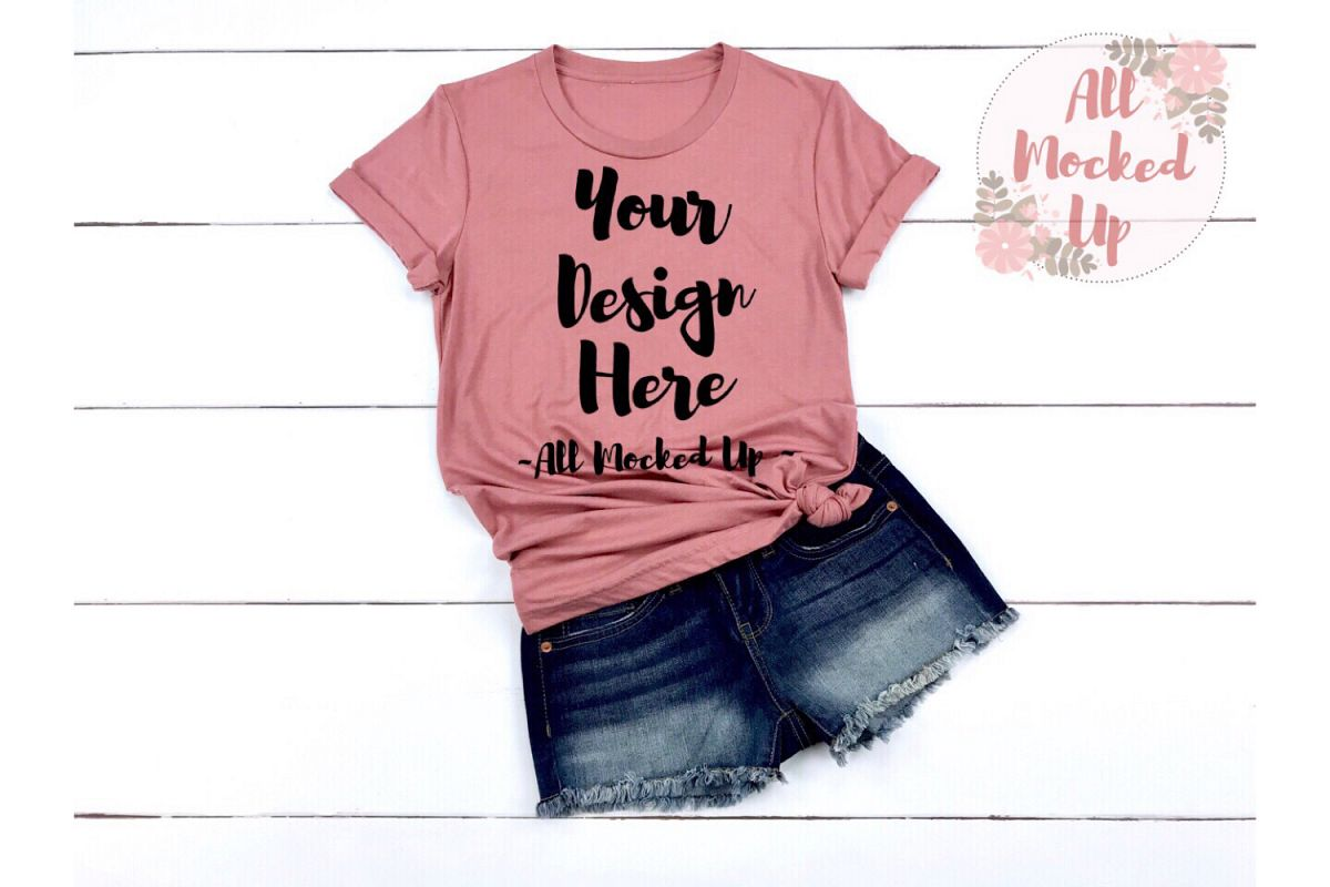 Bella Canvas 3001 / 3413 MAUVE Shirt Mock Up - 3/19 example image 1