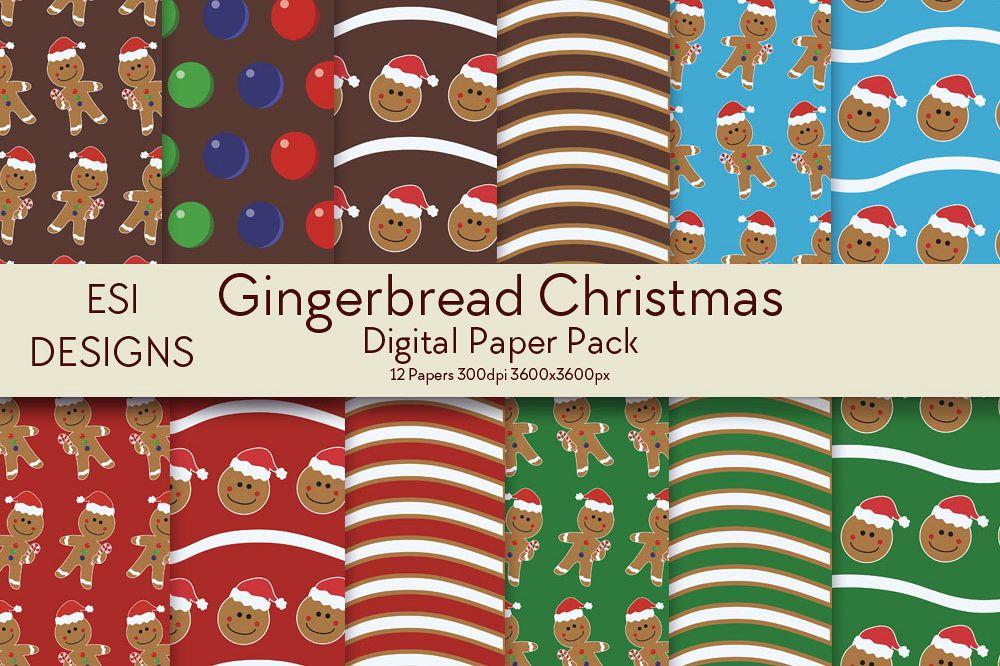 Christmas Gingerbread Digital Paper Pack example image 1