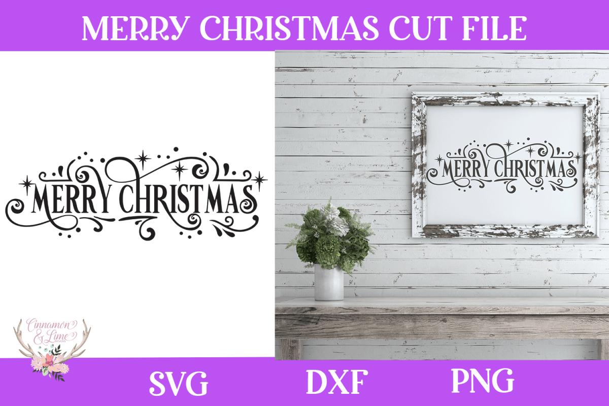Christmas Svg - Merry Christmas Farmhouse Vintage Sign example image 1