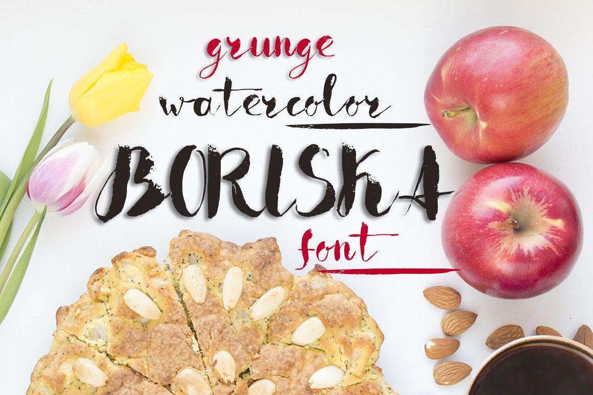 Boriska watercolor grunge font example image 1