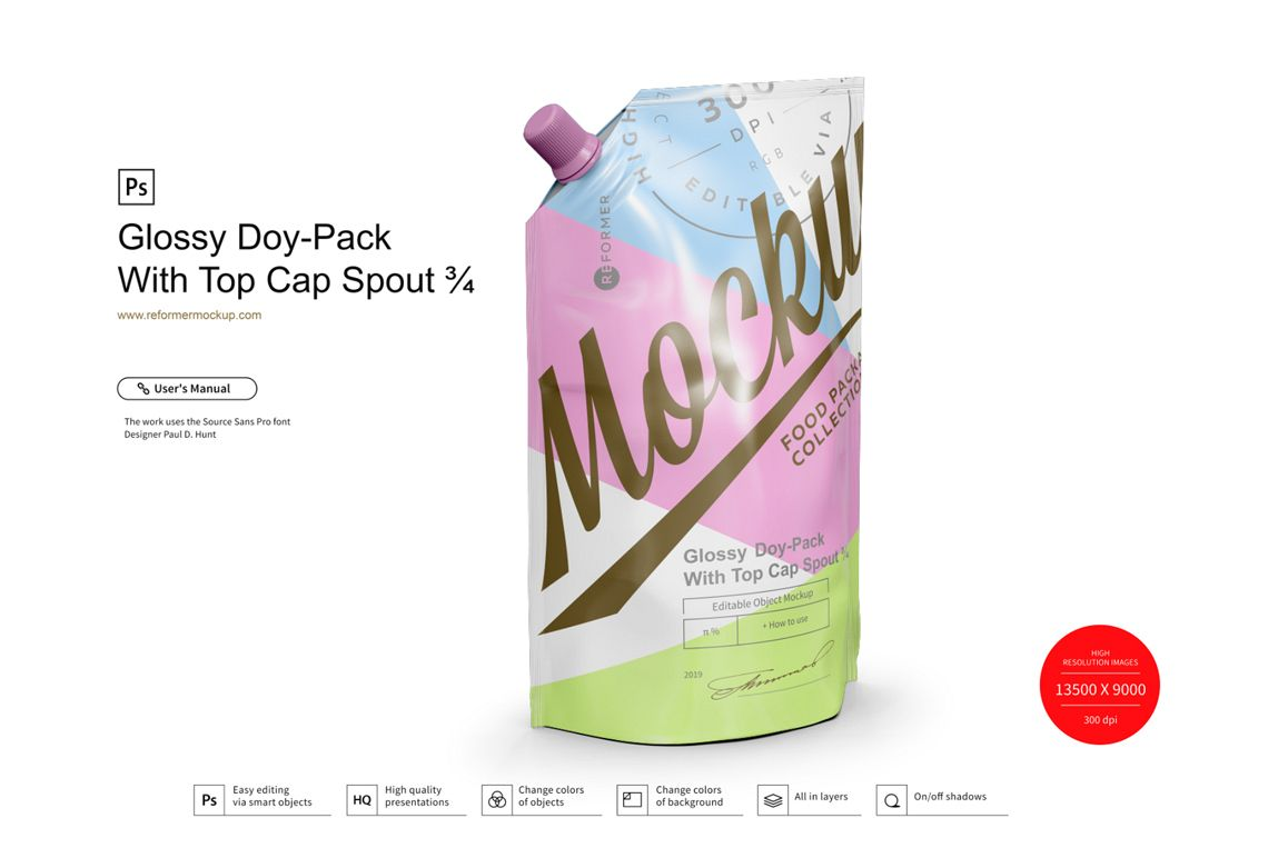 Glossy Doy-Pack With Top Cap Spout example image 1