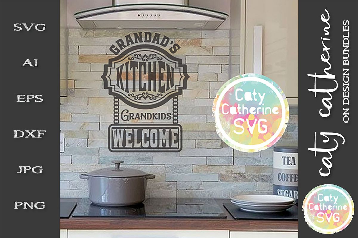 Grandad's Kitchen Grandkids Welcome SVG Cut File example image 1