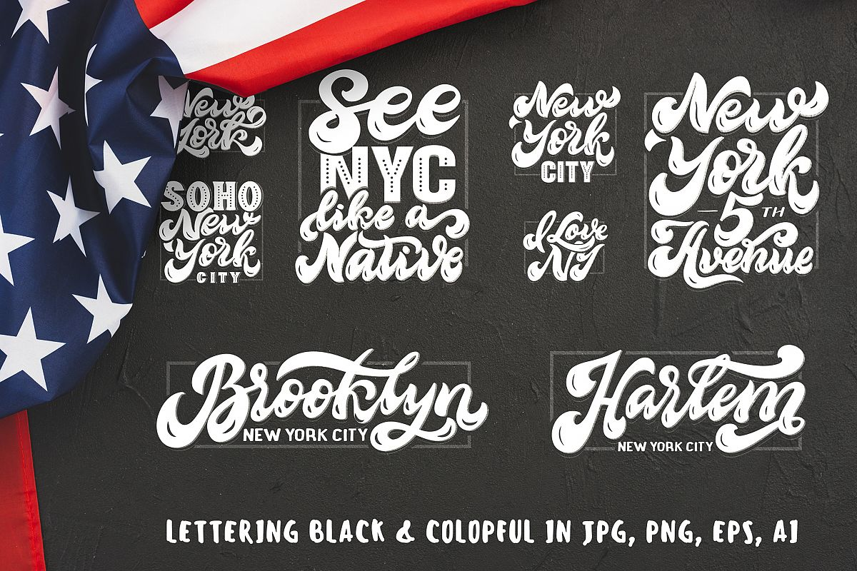 Set of New York hand drawn lettering example image 1