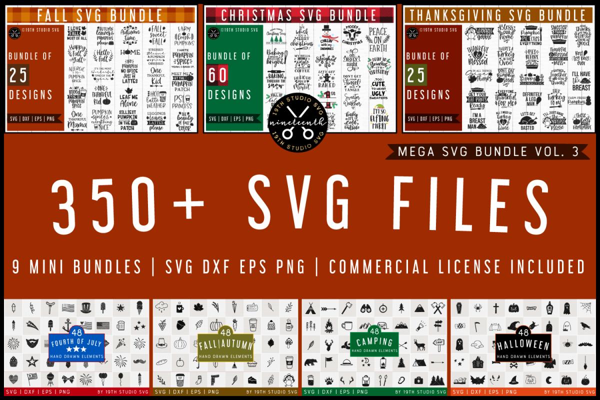 SVG Bundle | Mega SVG Bundle Vol.3 | SVG DXF EPS PNG example image 1