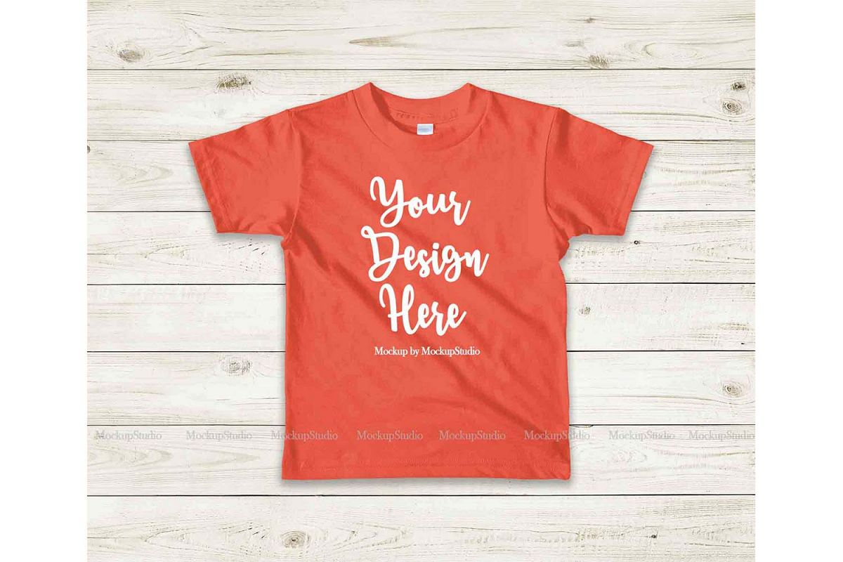 Kids Orange Tshirt Mockup, Toddler Shirt Flat Lay Mock example image 1