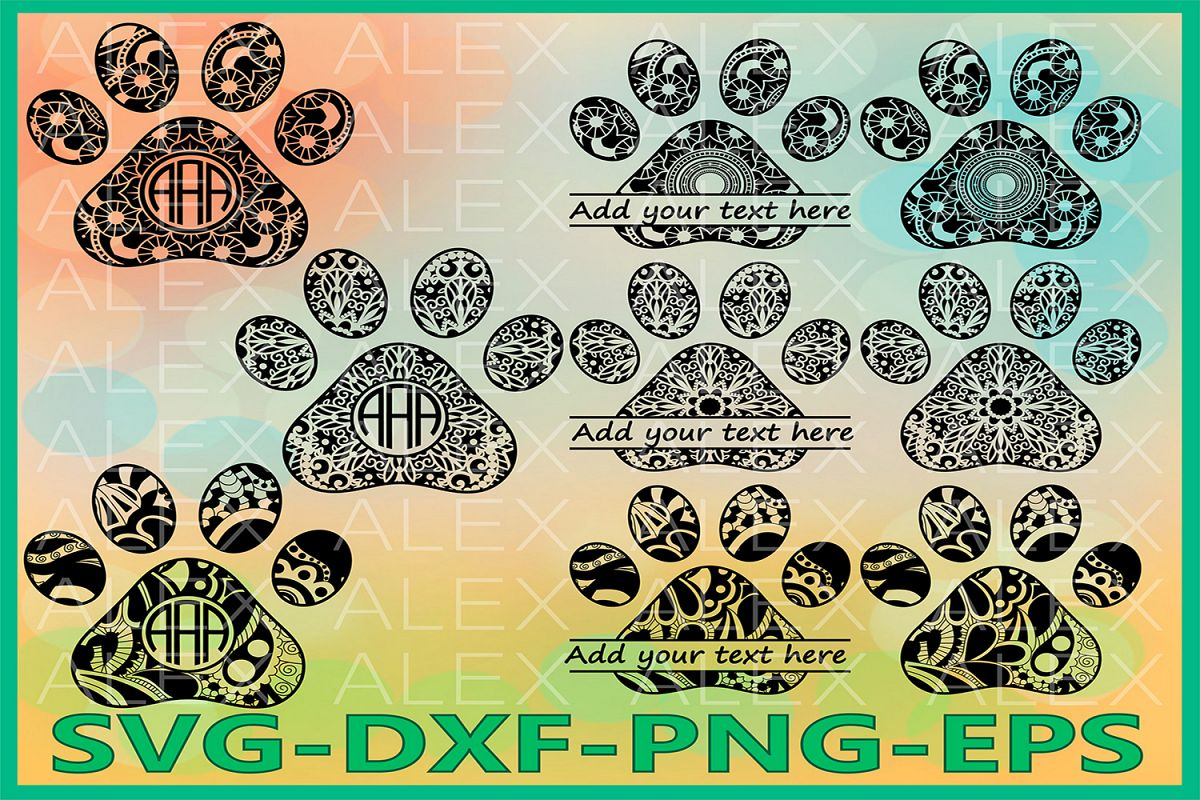 Paws Svg, Dog Svg, Mandala Svg, Zentangle svg, Paws Monogram example image 1