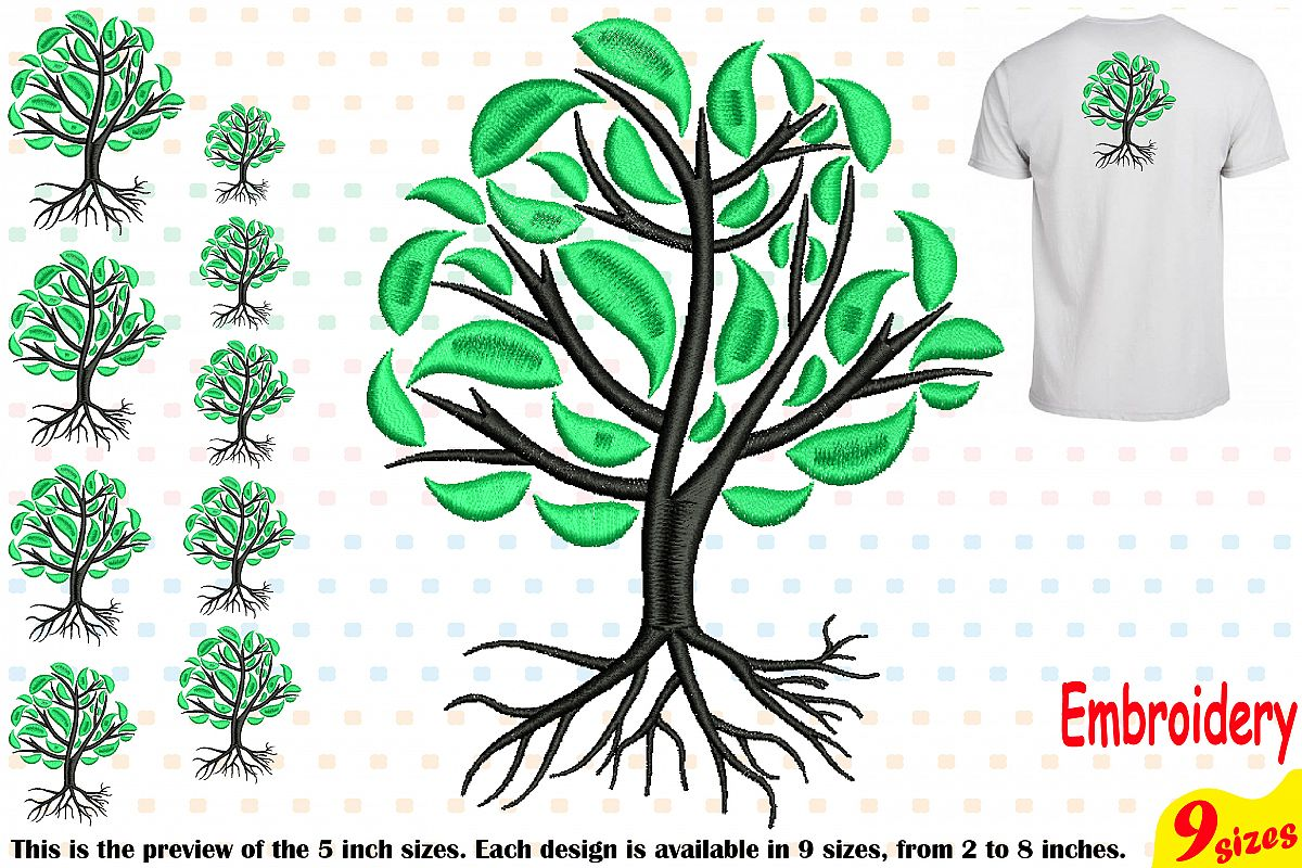 Family Tree Embroidery Design Machine Instant Download Commercial Use digital Outline family love Deep Roots Branches 204b example image 1