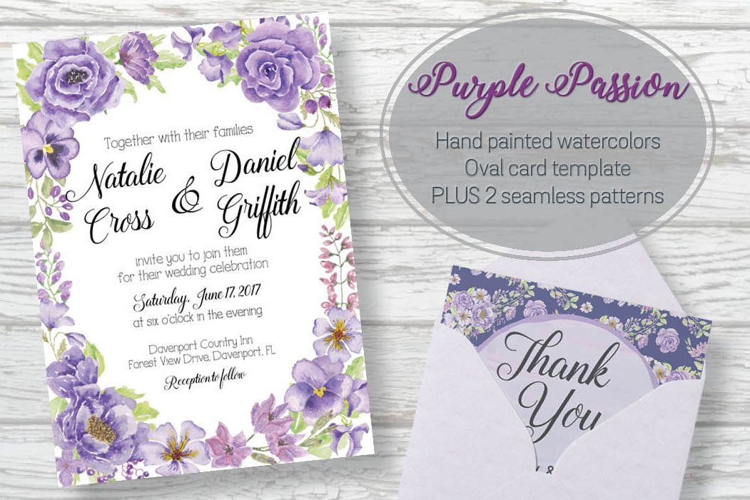 Oval card template: 'Purple Passion' example image 1
