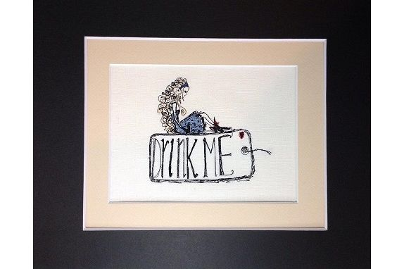 Unique Machine Embroidery Design  'Alice' Drink Me example image 1