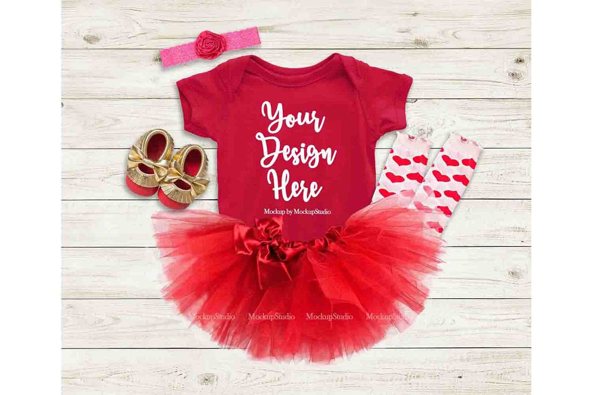 Baby Girl Red Bodysuit Mockup, Toddler Onepiece Flat Lay example image 1