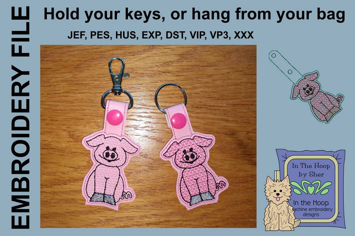 ITH Pig Key Fob - Embroidery Design example image 1