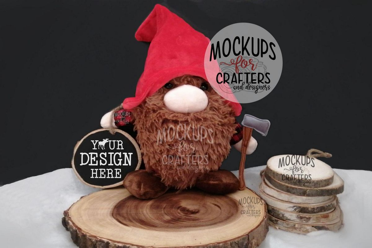 Wood Slice Ornament, Winter, Christmas, Rustic, Gnome example image 1