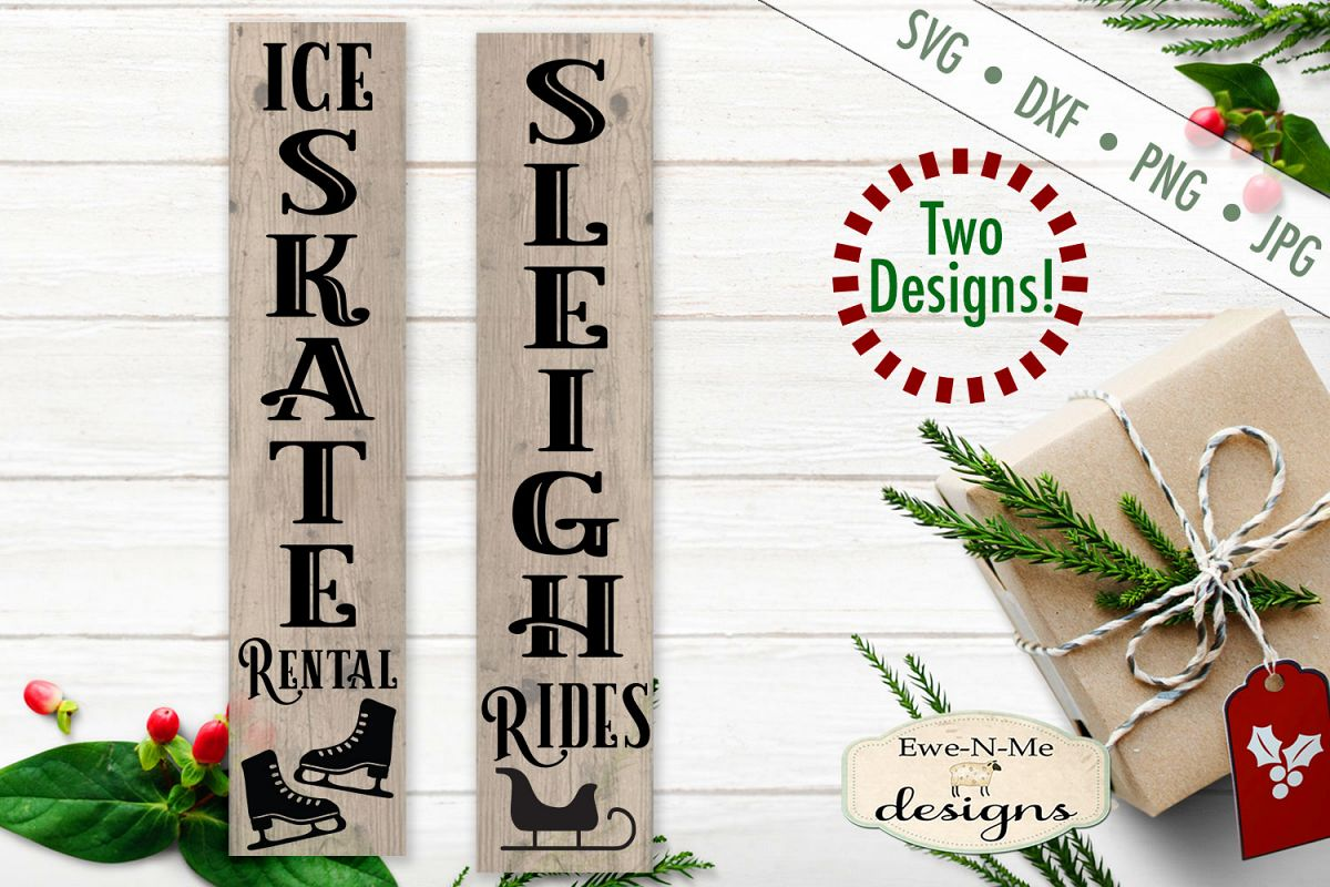 Skate Rental - Sleigh Rides - Christmas - Vertical SVG example image 1