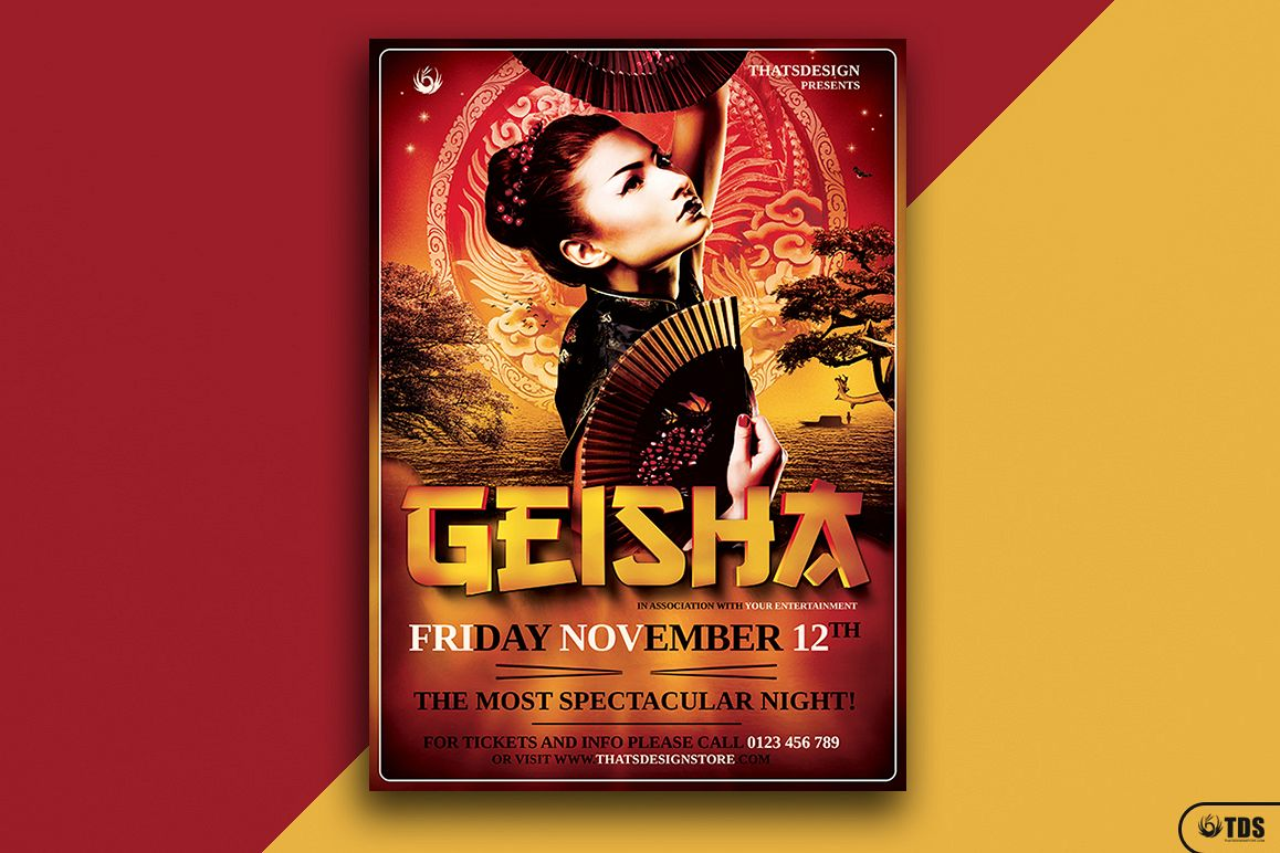 Geisha Night Flyer Template V3 example image 1