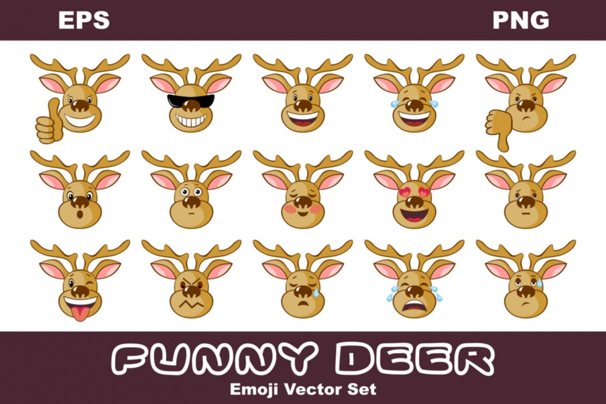 Funny Deer. Emoji Vector set example image 1