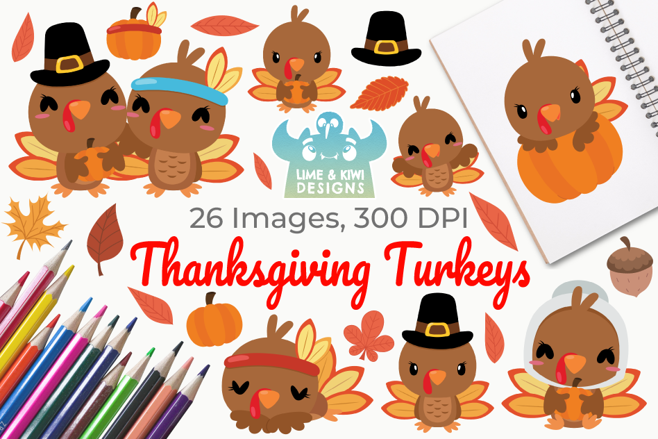 Thanksgiving Turkeys Clipart, Instant Download Vector Art example image 1