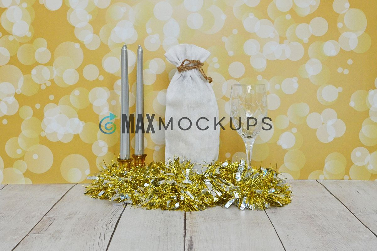 Wine bag Mockup, New Years, Valentines romantic gold, styled example image 1