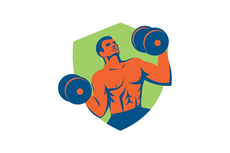 Strongman Crossfit Lifting Dumbbells Shield Retro example image 1