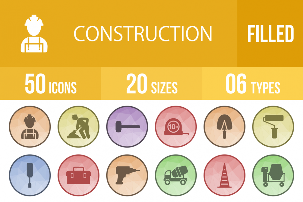 50 Construction Filled Low Poly Icons example image 1