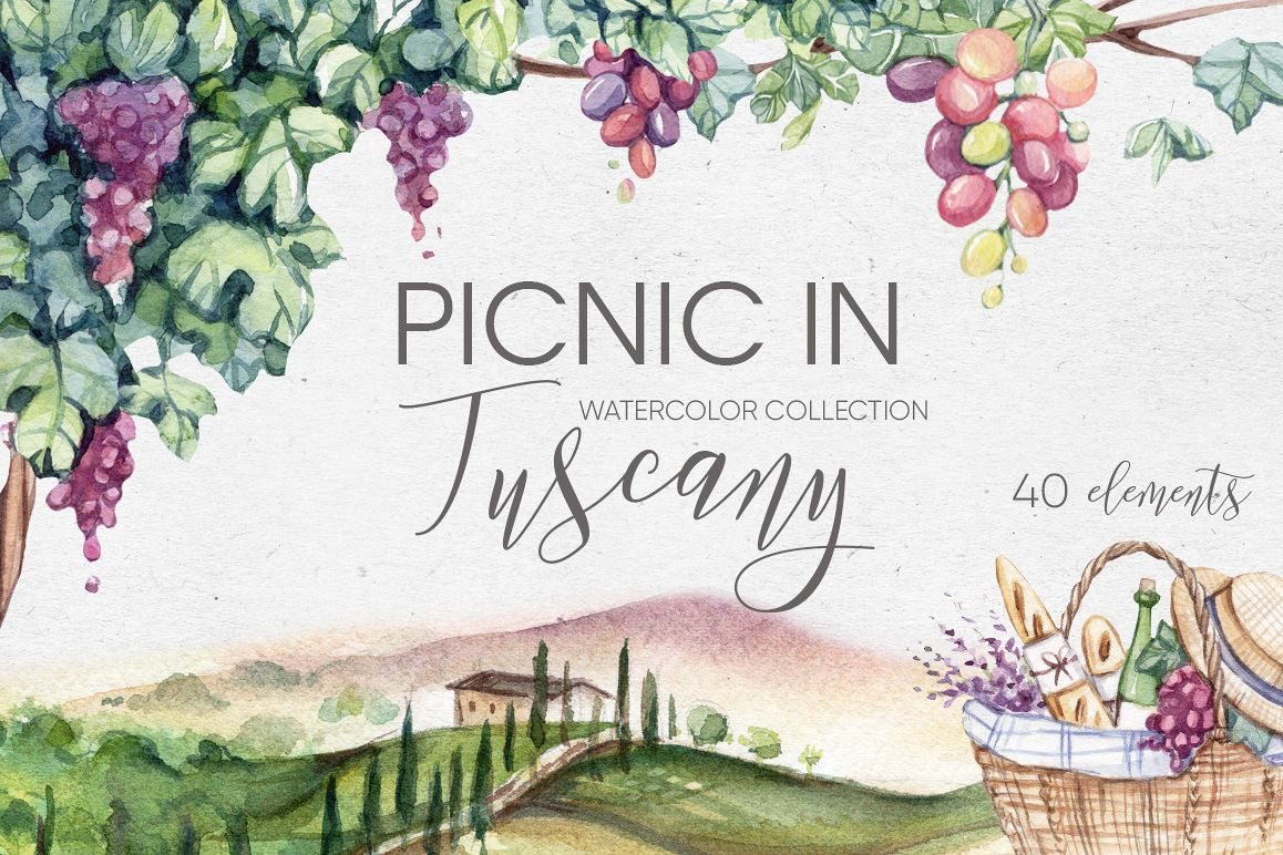 Watercolor collection PICNIC IN TUSCANY example image 1