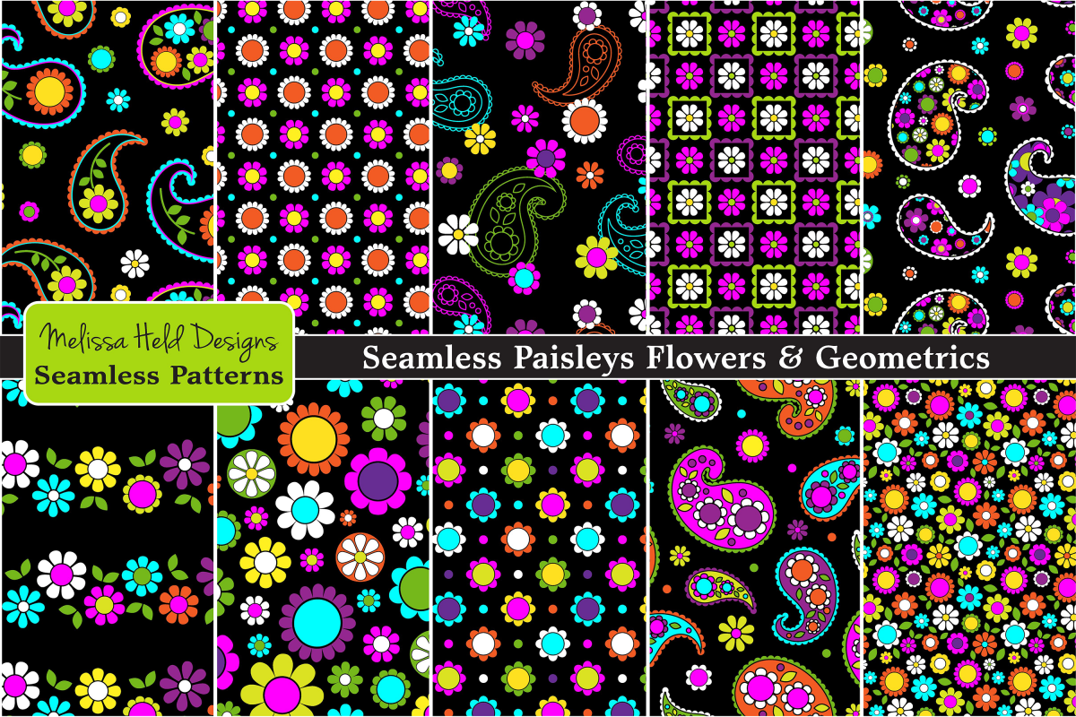 Seamless Paisleys & Flowers example image 1