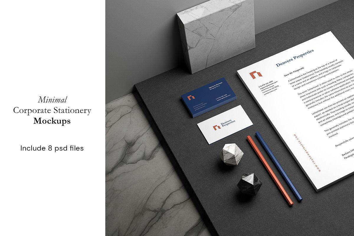 Minimal Corporate Stationery Mockup example image 1