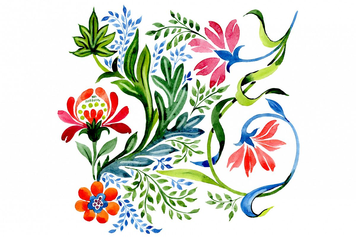 Ornament red flower PNG watercolor set example image 1