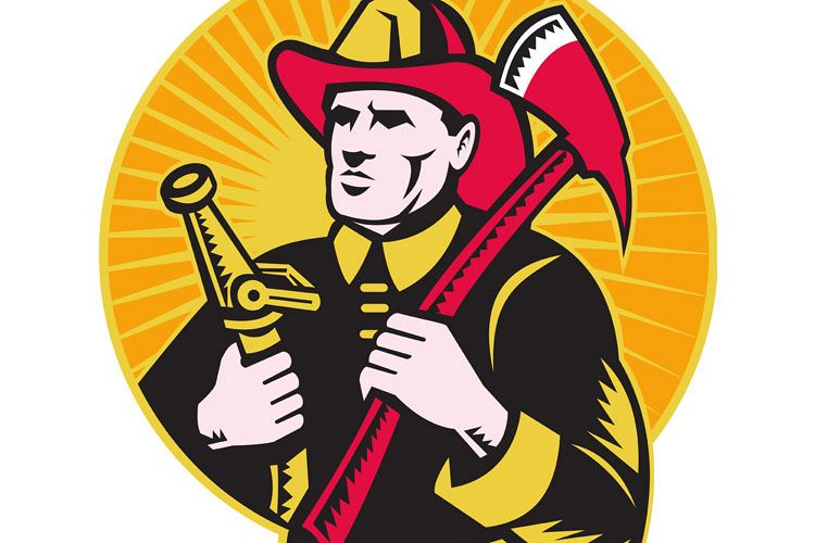 fireman firefighter holding ax fire hose example image 1