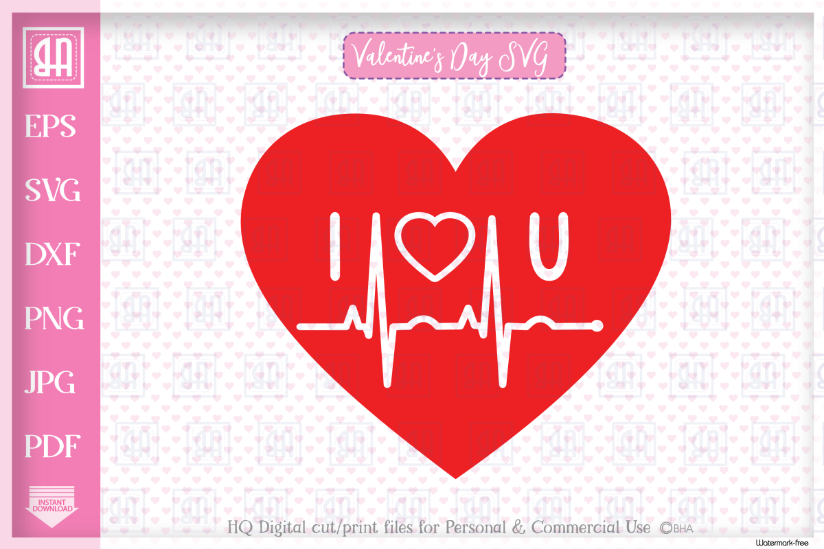 Valentine's Heartbeat SVG, Valentine's heart SVG example image 1